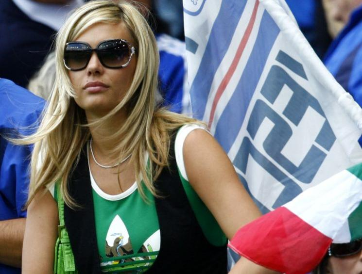 Pisnoli wife of Italy's De Rossi watches the Euro 2008 soccer match against Romania in Zurich