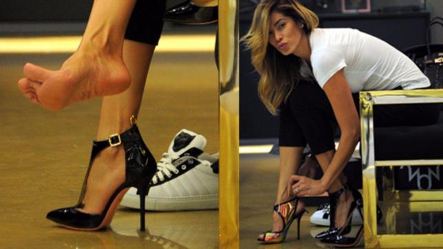 Aida Yespica compra le scarpe per il GF Vip